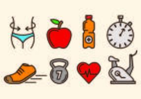 Ikoner för bantning och hälsa vektor