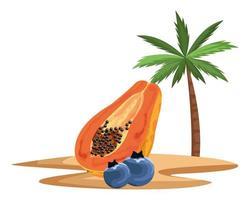 papaya och blåbär på en tropisk ö