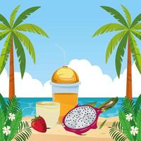 tropisk frukt och smoothie dricker strandscenen vektor