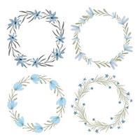 akvarell blå blommig krans cirkel ram set