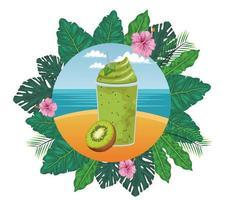 tropisk frukt och smoothie drink krans vektor