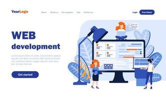 Web Development Landing Page Vorlage vektor