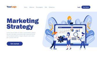 Zielseitenvorlage für Marketingstrategie vektor