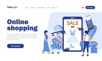online shopping målsidesmall vektor
