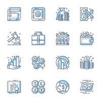 ekonomi och bankteknik ikonuppsättning