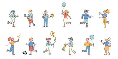 Kinder haben Spaß Flat-Design-Set