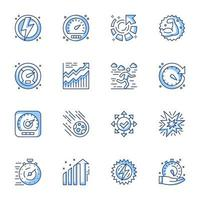 Zeitmanagement Line-Art Icon Set vektor