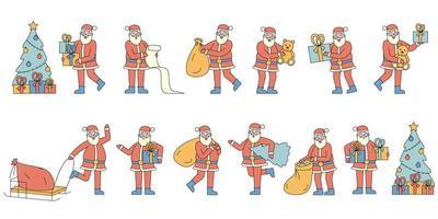 Weihnachtsmann mit Geschenken Flat-Design-Set vektor