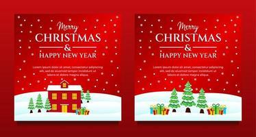 Weihnachten und Neujahr Winterszene Social Media Set vektor