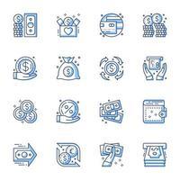 ekonomi och pengar line-art ikonuppsättning