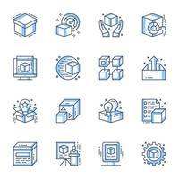 Produkteinführung Line-Art Icon Set vektor