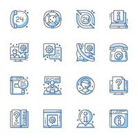 Kundendienst Line-Art Icon Set vektor