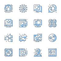 sociala medier line-art ikonuppsättning vektor