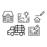 Geschäft, Wohnung Icon Set vektor