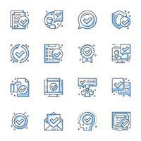 certifikat linje konst ikonuppsättning vektor