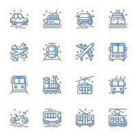 transport line-art ikonuppsättning vektor