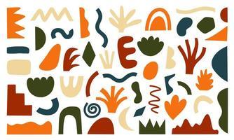 Satz von handgezeichneten modernen Formen und Gekritzelobjekten