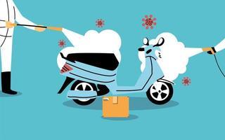 Service Motorrad Desinfektion durch Coronavirus oder Covid 19