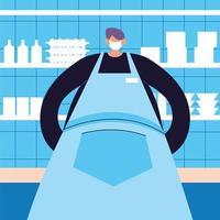 manlig servitör med ansiktsmask och uniform