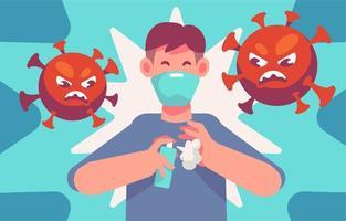 Covid 19 Bewusstsein für die Verwendung von Händedesinfektionsmitteln vektor