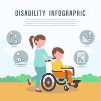 Pflege behinderter Menschen Infografik-Elemente vektor