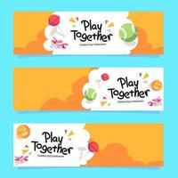 Kindertag spielen zusammen Banner vektor