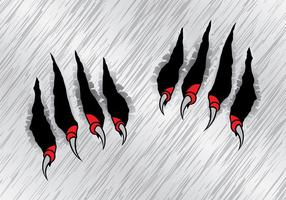 Red Claw Scratch Marks Vector