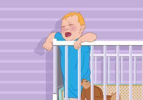 Gråtande barn i en spjälsäng Vector