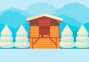 Heiße Getränke-Shop im Schnee vektor