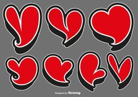 Vector uppsättning av röda hjärtaklistermärkear