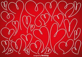 Vector Uppsättning av Doodle Hearts