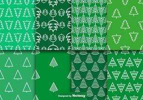 Vector Pine Trees Seamless Patterns Set
