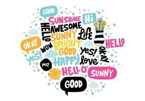 Handritad positiva ord vektor