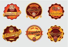 Brigadier Nachtischkuchen Vektor-Label-Logo vektor