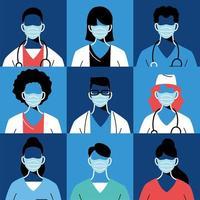 kvinnliga och manliga läkare med masker och uniformer