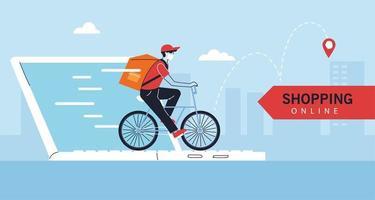 Lieferbote mit schützender Gesichtsmaske im Fahrrad