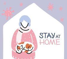 äldre kvinna med katt hemma, koronaviruspandemi vektor