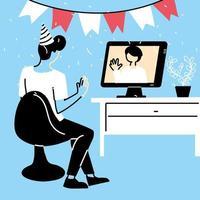 man med festhatt och dator i chatt