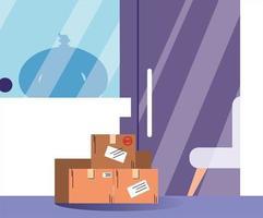 lådor med inköp står vid dörren