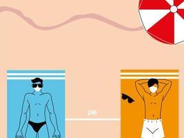 människor ligger på strandhanddukar på avstånd vektor