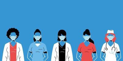 kvinnliga läkare med masker och uniformer vektor
