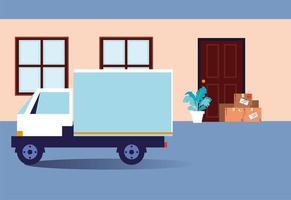 Kisten mit Einkäufen stehen an der Tür