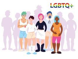grupp människor med lgbtq gay pride symbol