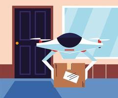 Drohne trägt Einkaufsbox an der Tür