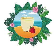 tropisches Obst und Smoothie-Getränk vektor