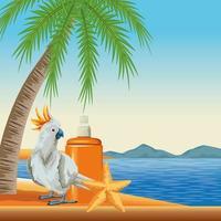 tropisk strand med fågel och solskyddsmedel