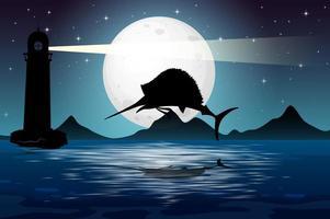 marlin fisk i natur scen siluett vektor