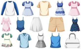 uppsättning modekläder vektor