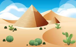 öken med pyramid och kaktuslandskap