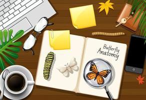 Draufsicht Büroarbeitstisch mit Büroelementen